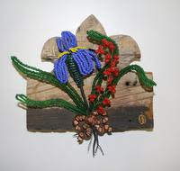 Beaded wood plaque